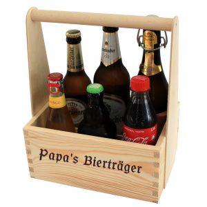 Vatertagsgeschenk Bier im Bierträger mit Gravur