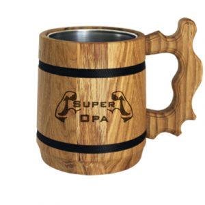 Holz Bierkrug mit Gravur
