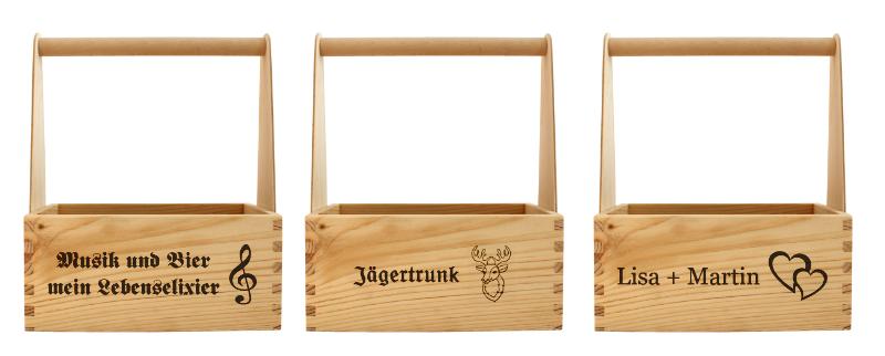 Bierträger aus Holz mit Spruch und Motiv