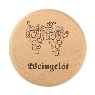 Glasdeckel aus Holz mit Gravur Weingeist
