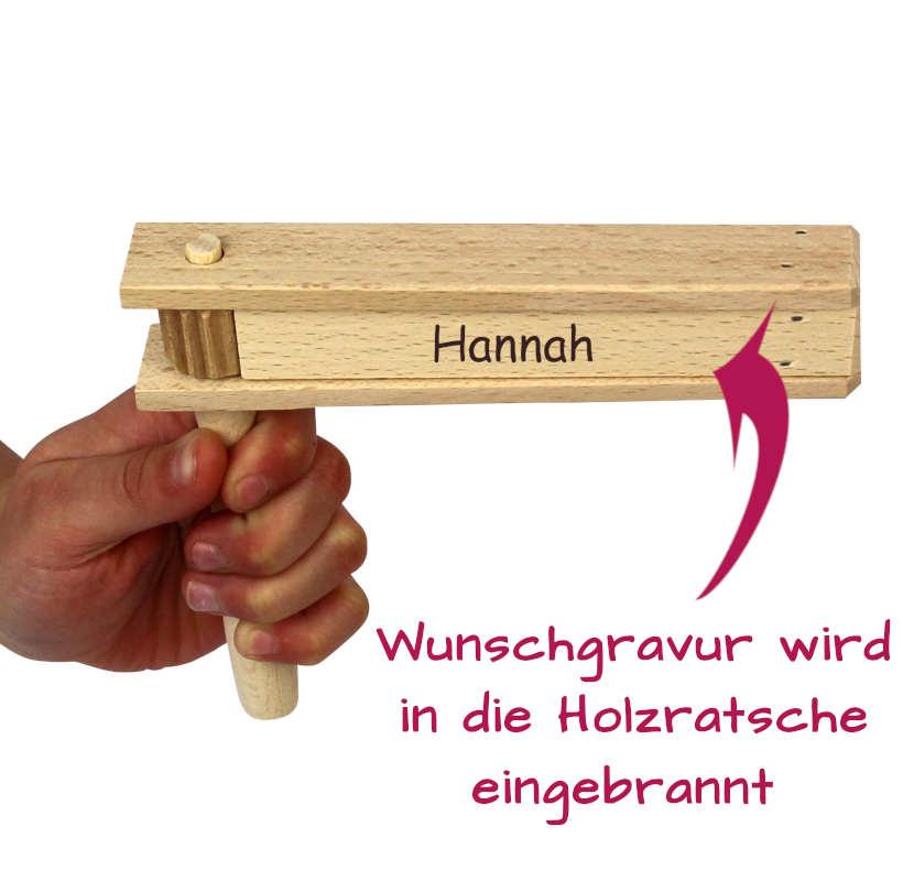 Holzratsche mit Namen