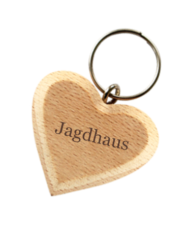 Schlüsselanhänger Gravur Jagdhaus
