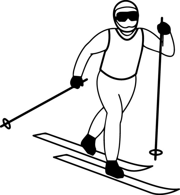 Ski-Langlauf Ausmalbild