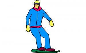 Snowboard fahren Ausmalbild